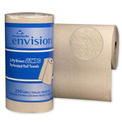 Envision High-Capacity Perforated Kitchen Roll Towel, Two-Ply, 11 x 8 4/5, Brown