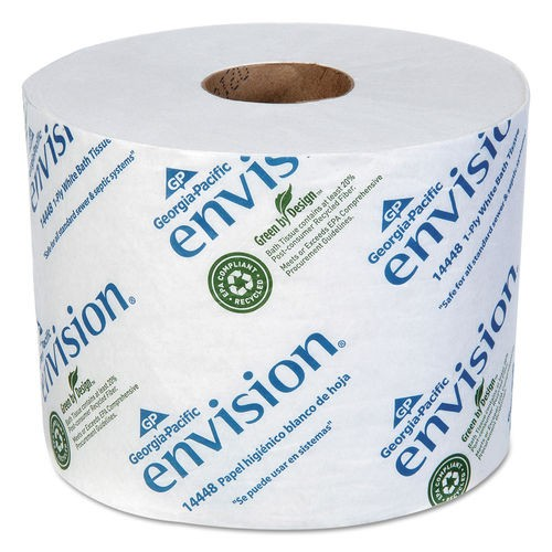 Envision High-Capacity Standard Bath Tissue, 1-Ply, White, 1500/Roll