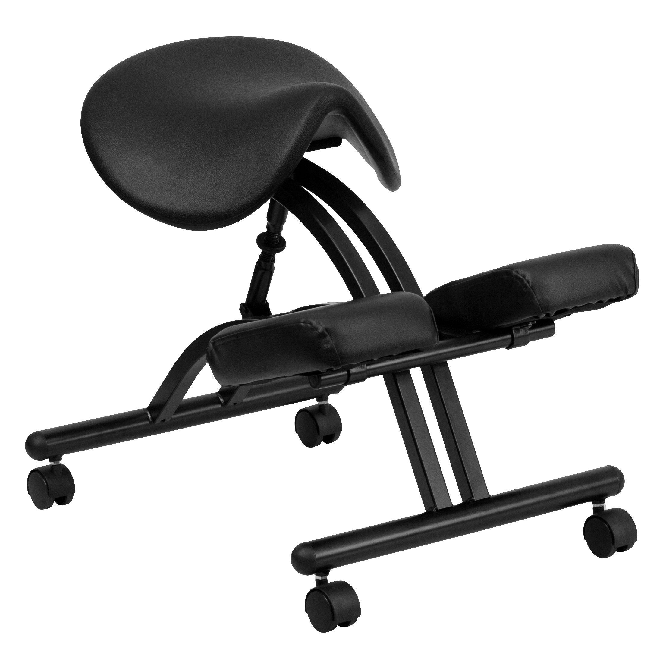 Flash Furniture WL-1421-GG Ergonomic Kneeling Chair with Black Saddle Seat
