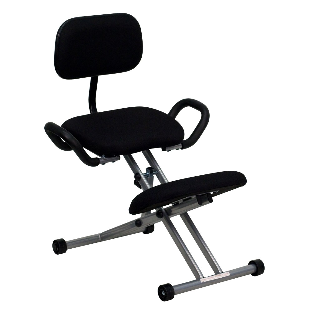 Ergonomic Kneeling Chair with Handles - Black Fabric Seat