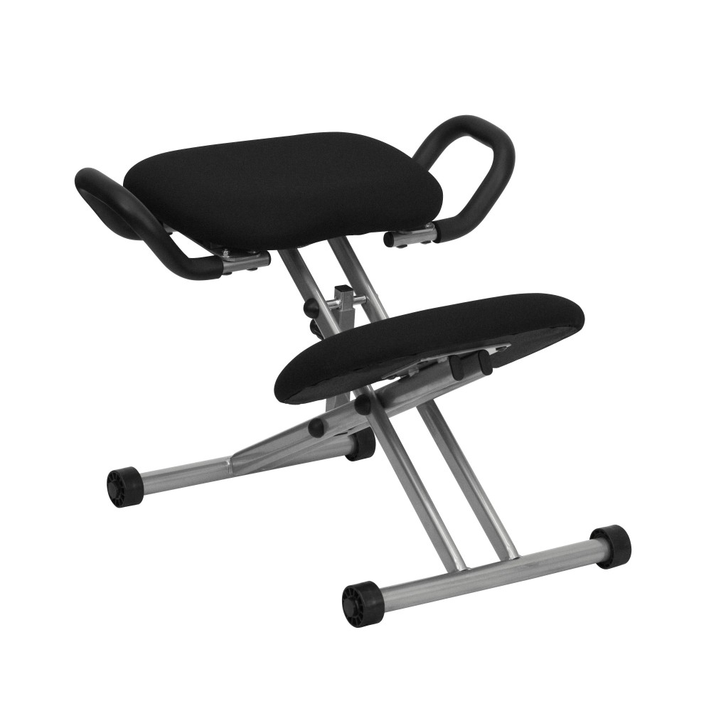 Ergonomic Kneeling Posture Office Chair with Silver Frame