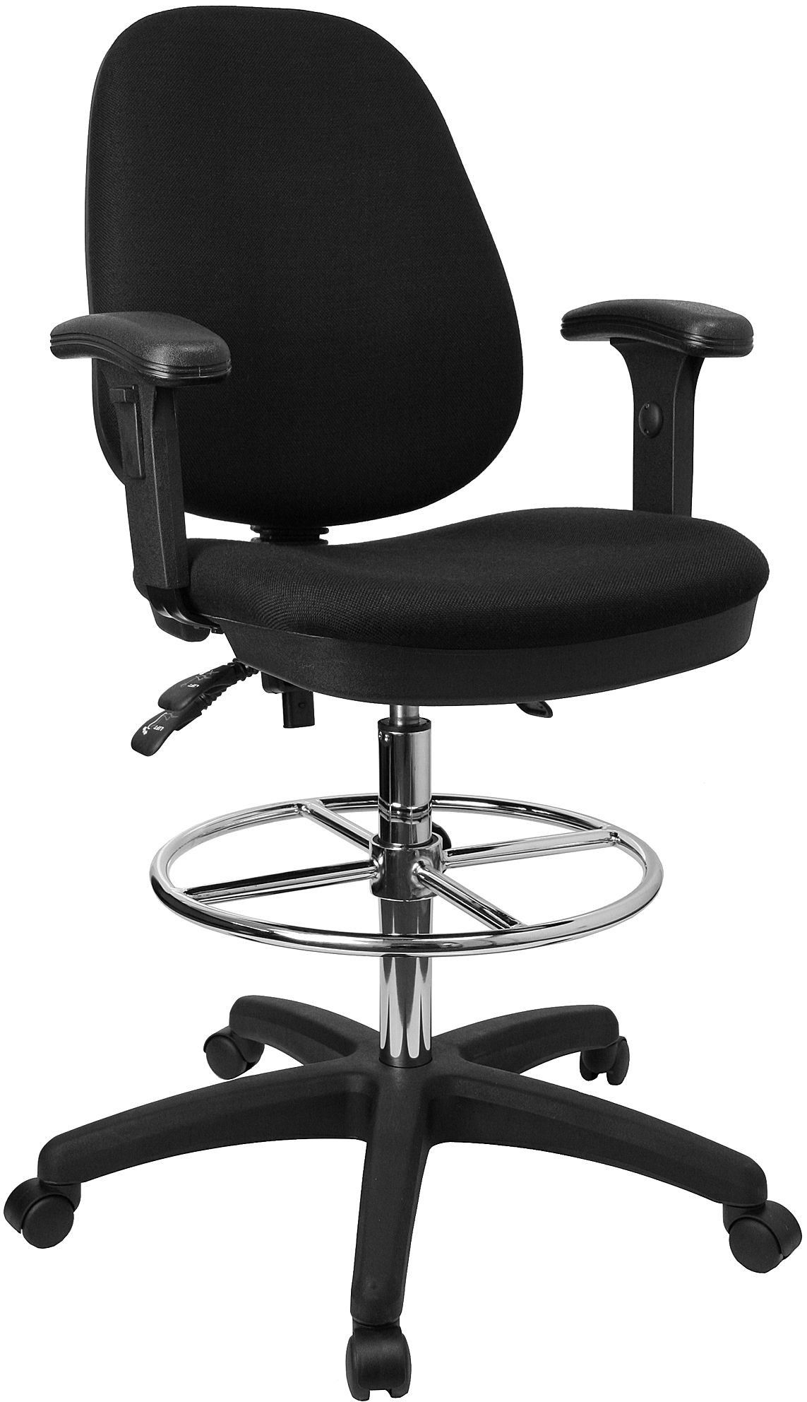 Flash Furniture KC-B802M1KG-ARMS-GG Ergonomic Multi-Functional Triple Paddle Drafting Stool with Adjustable Foot Ring and Arms