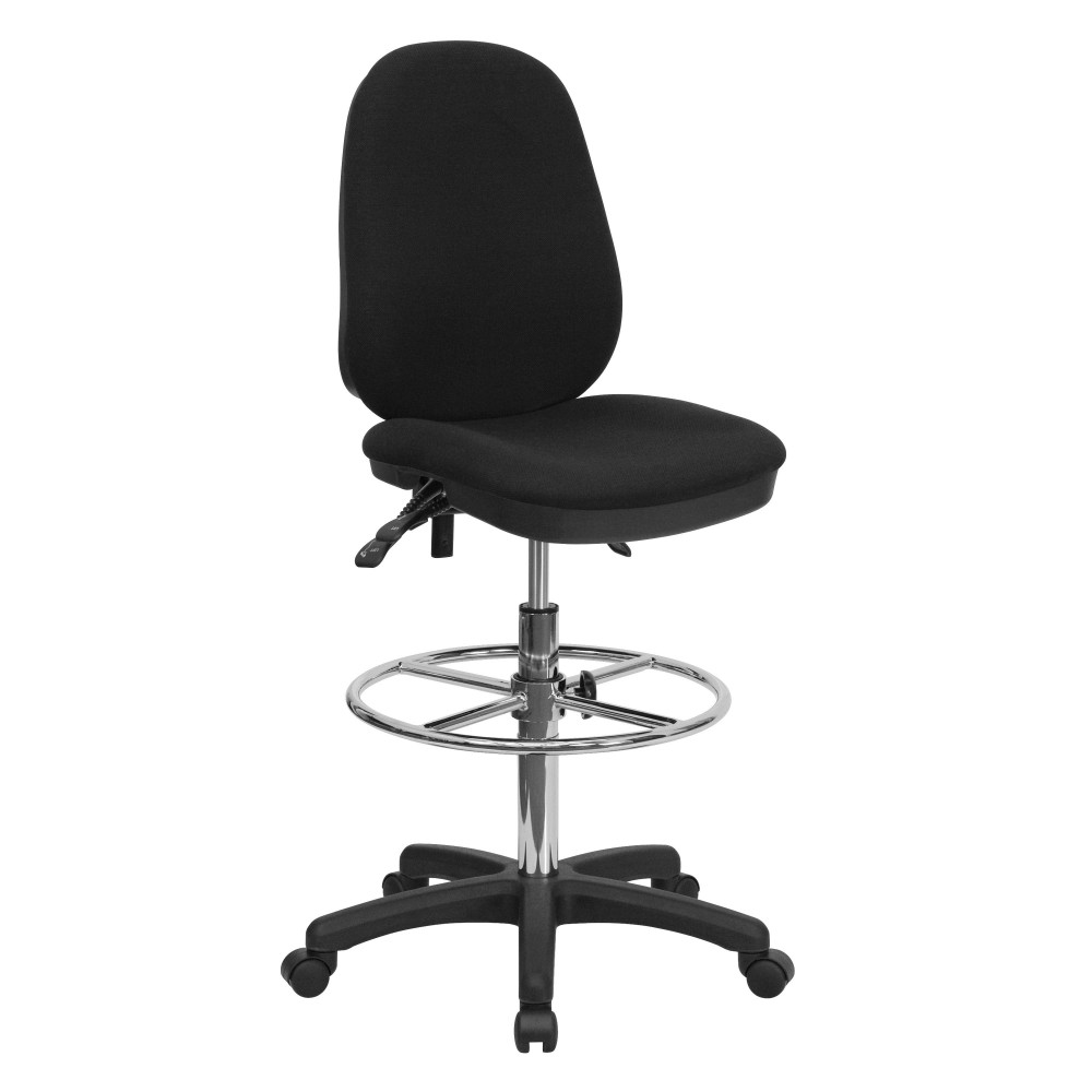 Flash Furniture KC-B802M1KG-GG Ergonomic Multi-Functional Triple Paddle Drafting Stool with Adjustable Foot Ring