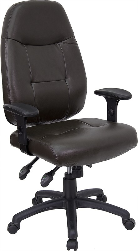 Espresso Brown Leather High Back Executive Office Chair with black plastic arm rests