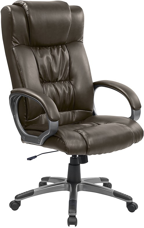 Espresso Brown Leather High Back Executive Office Chair with brown handles