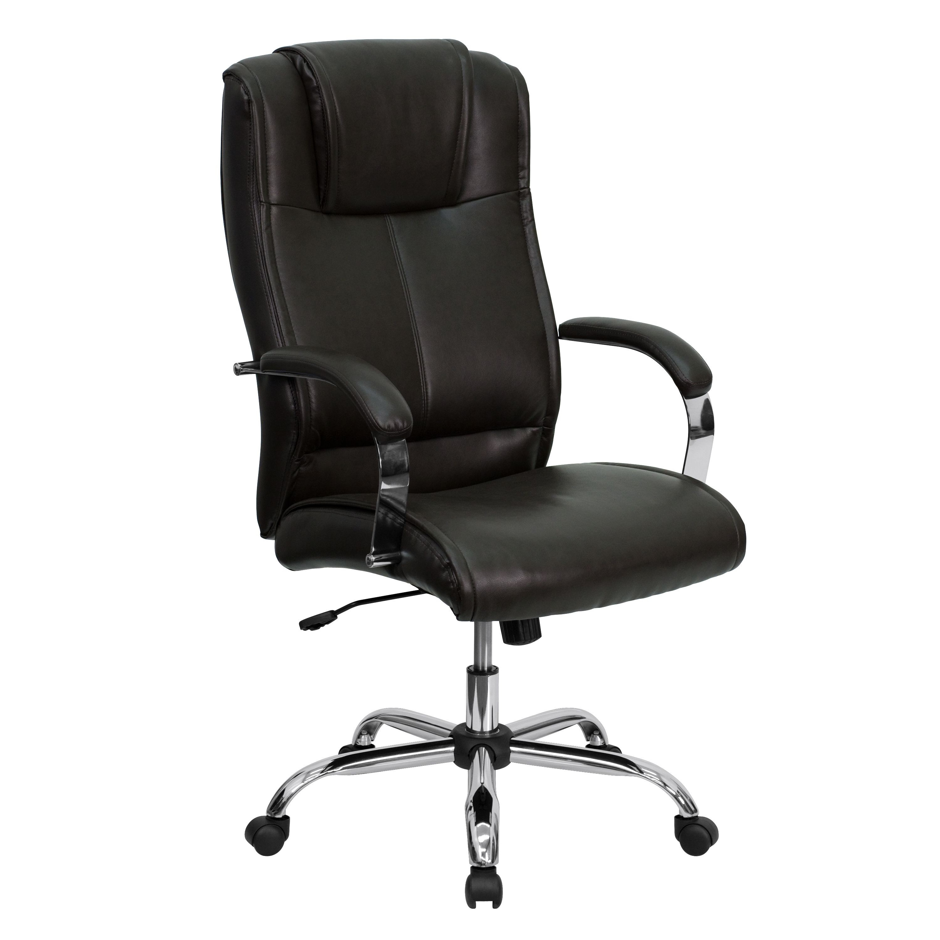 Espresso Brown Leather High Back Executive Office Chair with stainless steel frame
