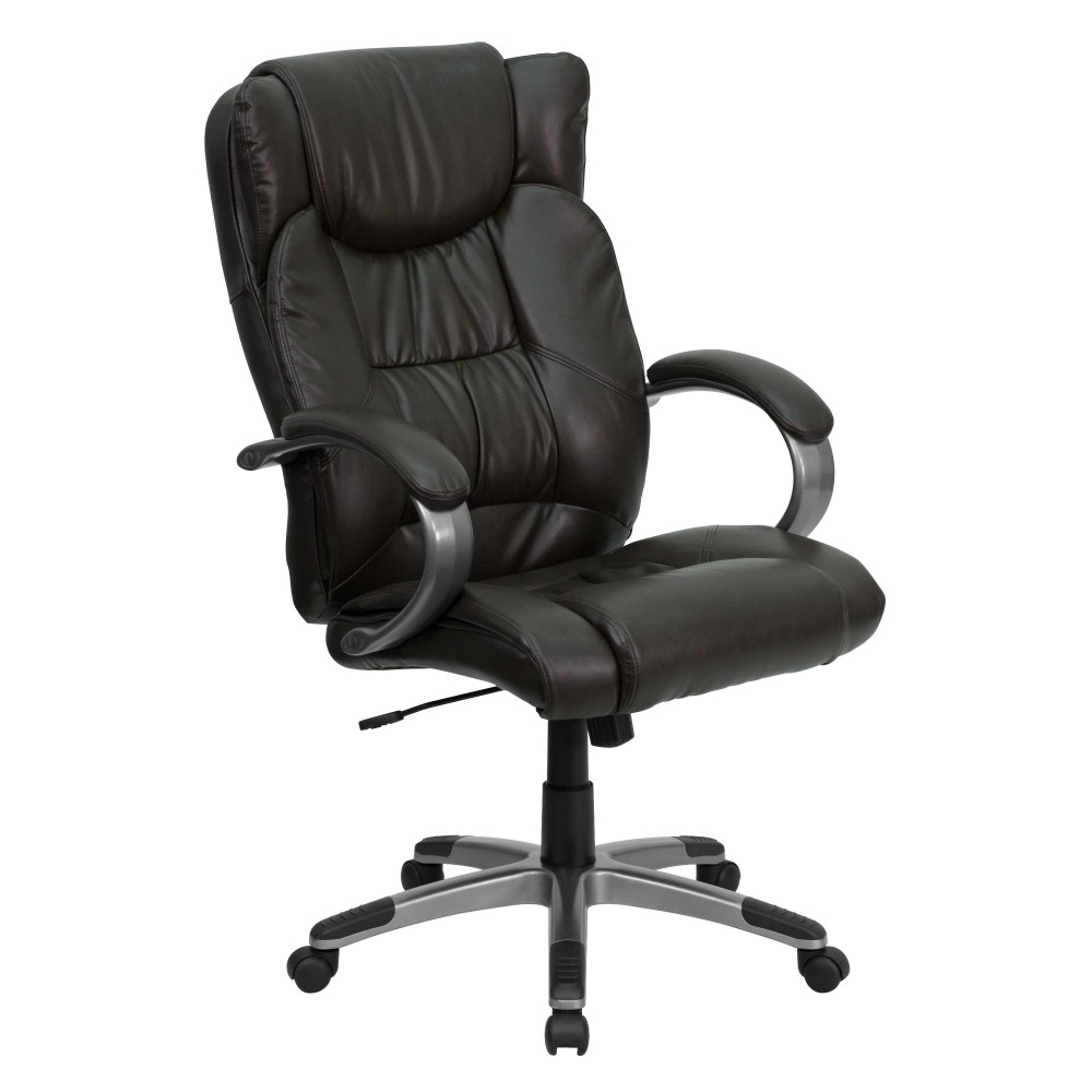 Espresso Brown Leather High Back Executive Office Chair, with padded loop arms