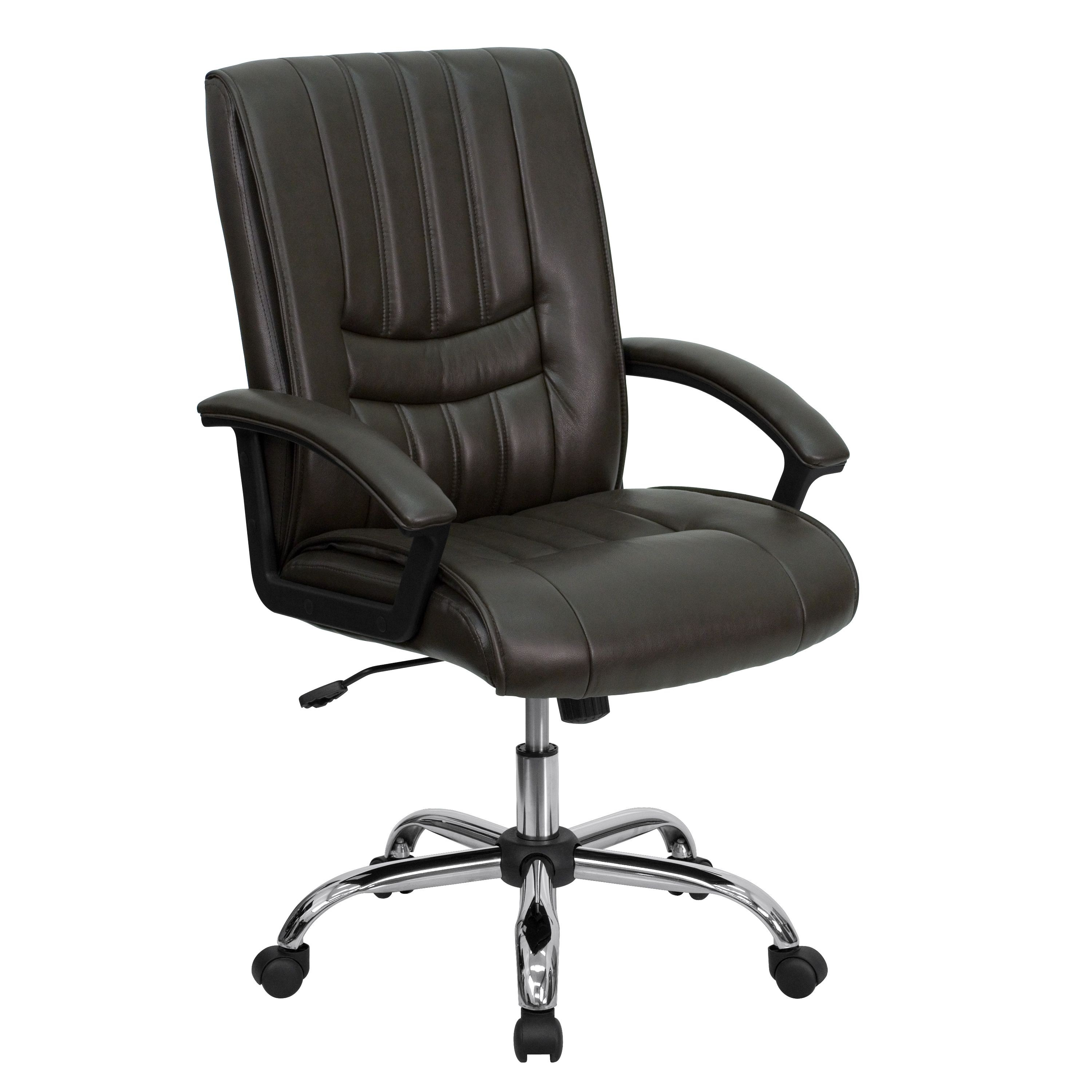 Flash Furniture BT-9076-BRN-GG Espresso Brown Leather Mid Back Leather Manager's Chair
