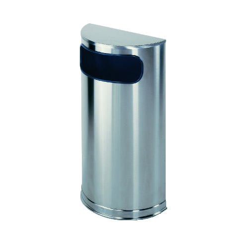 European & Metallic Series Receptacle, Half-Round, 9 Gallon, Satin Stainless Steel