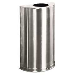 European Metallic Open Top Receptacle, Half-Round, 12 gal, Stainless Steel