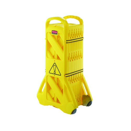 Extendable Mobile Barrier, Extends to 13ft, Yellow