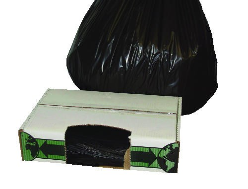 Extra-Heavy Garbage Can Liner, Flatpack, Small 38 X 60, 1 Mil, Black