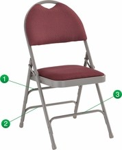 Extra Large Ultra-Premium Triple Braced Burgundy Fabric Metal Folding Chair with Easy-Carry Handle