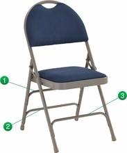 Extra Large Ultra-Premium Triple Braced Navy Fabric Metal Folding Chair with Easy-Carry Handle