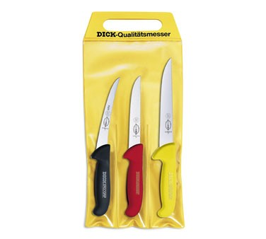 Friedr. Dick 8255100 Set Of 3 Ergogrip Knives, 3 Colors, In Pouch