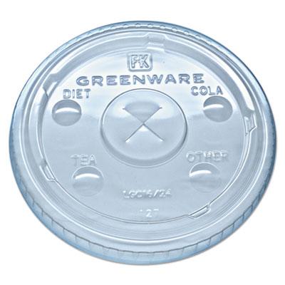 Fabri-Kal Greenware Clear X-Slot Cold Drink Lids Fits 16-18, 24 oz. Cups, 1000/Carton