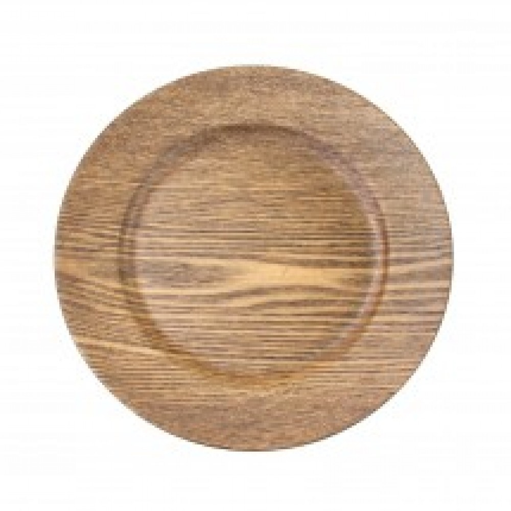 Faux Wood Charger Plates - Walnut