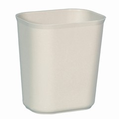 Fire-Resistant Wastebasket, 14 Quart, Fiberglass, Beige