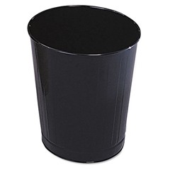 Fire-Safe Wastebasket, Round, Steel, 6 1/2 gal, Black