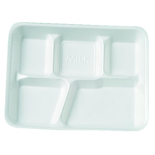 Five Compartment Foam School Food Tray