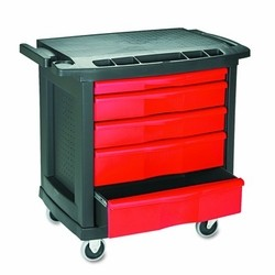 Five-Drawer Mobile Workcenter, 32-5/8w x 19-7/8d x 33-1/2h, Black Plastic Top