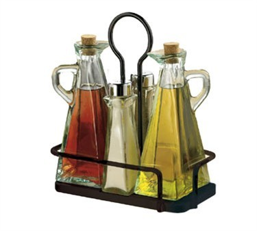 Five-Piece Oil & Vinegar/Salt & Pepper Set With Black Rack