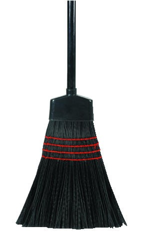 Flag-Tip Maid Broom, 42 X .88 Diameter, Wood Handle, Black Bristles