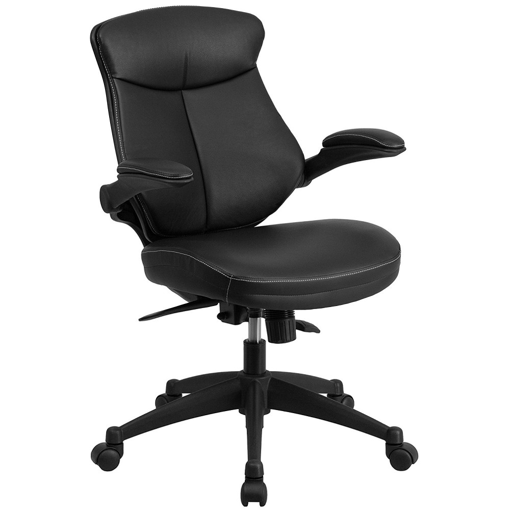 Flash Furniture BL-ZP-804-GG Mid-Back Leather Office Chair with Back Angle Adjustment and Flip-Up Arms