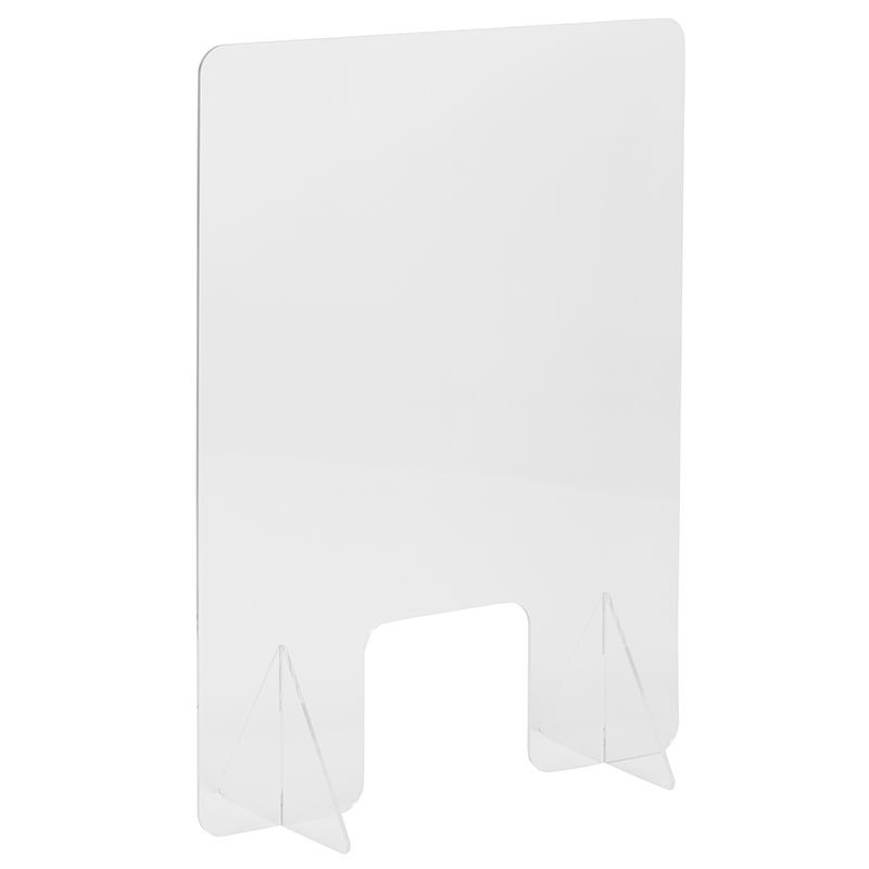 Flash Furniture BR-ASLF-3324-GG Clear Acrylic Free-Standing Register Shield / Sneeze Guard 24