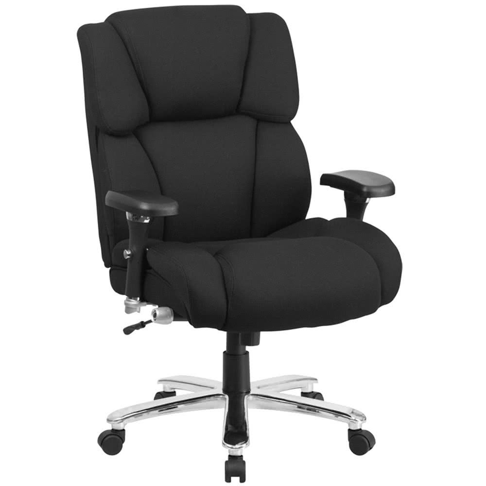 Flash Furniture GO-2149-GG HERCULES Series 24/7 Intensive Use Big & Tall 400 Lb. Capacity Black Fabric Executive Swivel Chair with Lumbar Support Knob