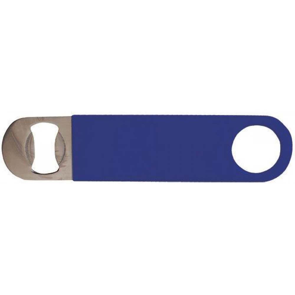 Flat Bottle Opener Pvc-Coated Blue