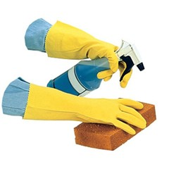 Flock Lined Latex Gloves, Yellow, 12 in Length, Medium, Dozen