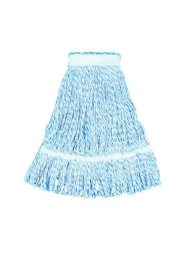 Mop Head, Floor Finish, Wide, Rayon/Polyester, Medium, White/Blue