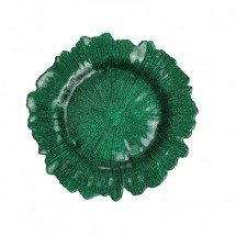 "Koyal 403423 Flora Glass Emerald Green 13"" Charger Plate"