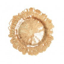 "Koyal 403413 Flora Glass Gold 13"" Charger Plate"