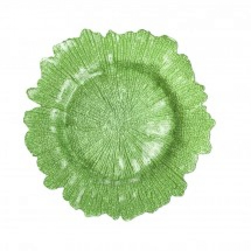 Flora Glass Charger Plates - Lime Green