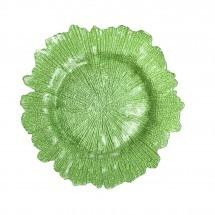 """Koyal 403401 Flora Glass Lime Green 13"""" Charger Plate"""