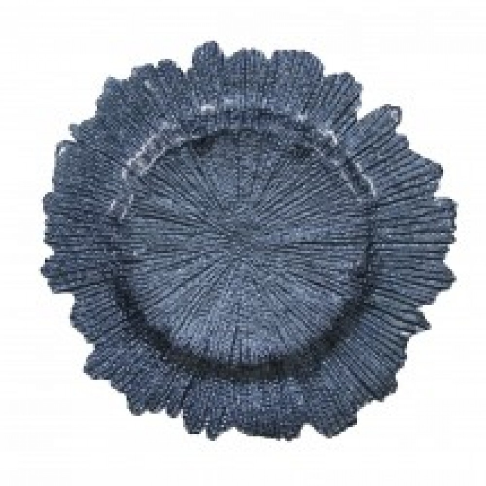 Flora Glass Charger Plates - Navy Blue
