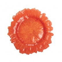 Flora Glass Charger Plates - Orange