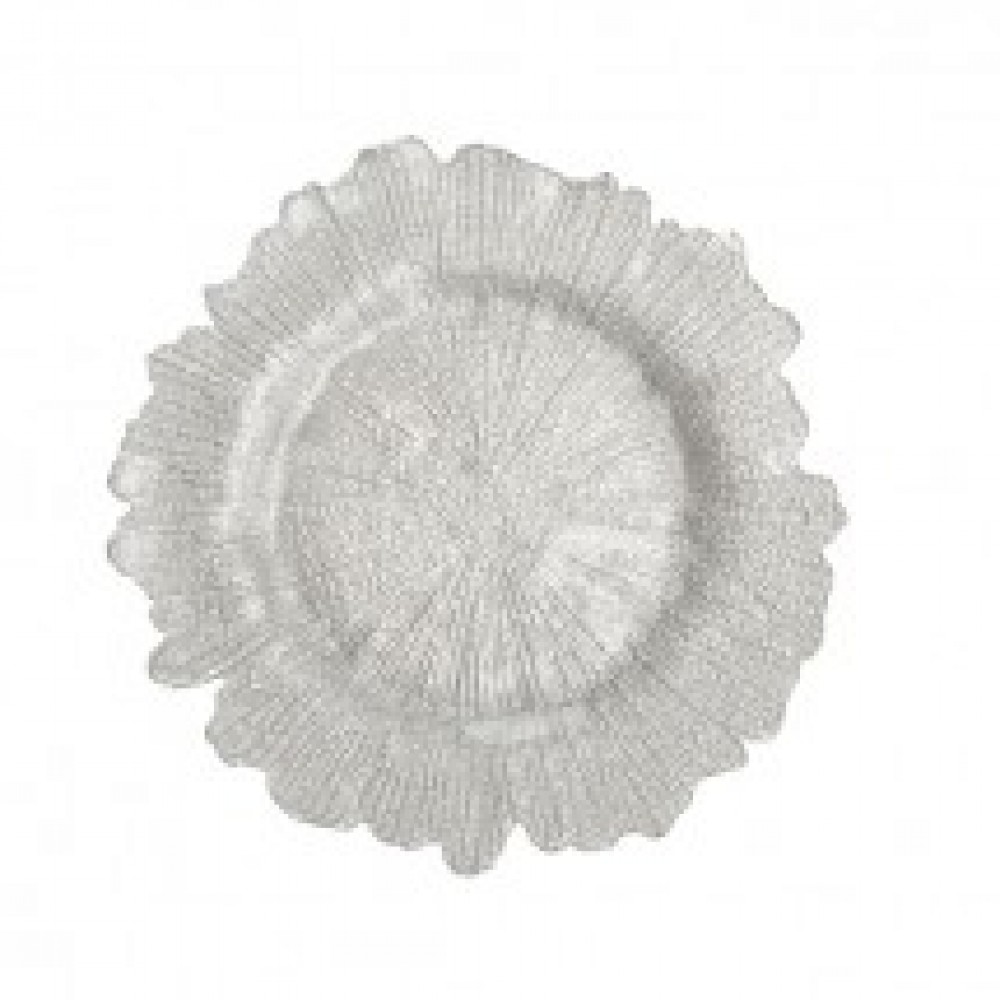 "Koyal 403414 Flora Glass Silver 13"" Charger Plate"