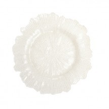 "Koyal 403395 Flora Glass White 13"" Charger Plate"