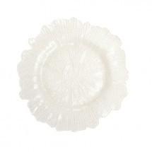 "Koyal 403395 Flora Glass White 13"" Charger Plate"