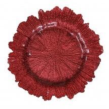 "Koyal 403960 Flora Glass Coral 13"" Charger Plate"