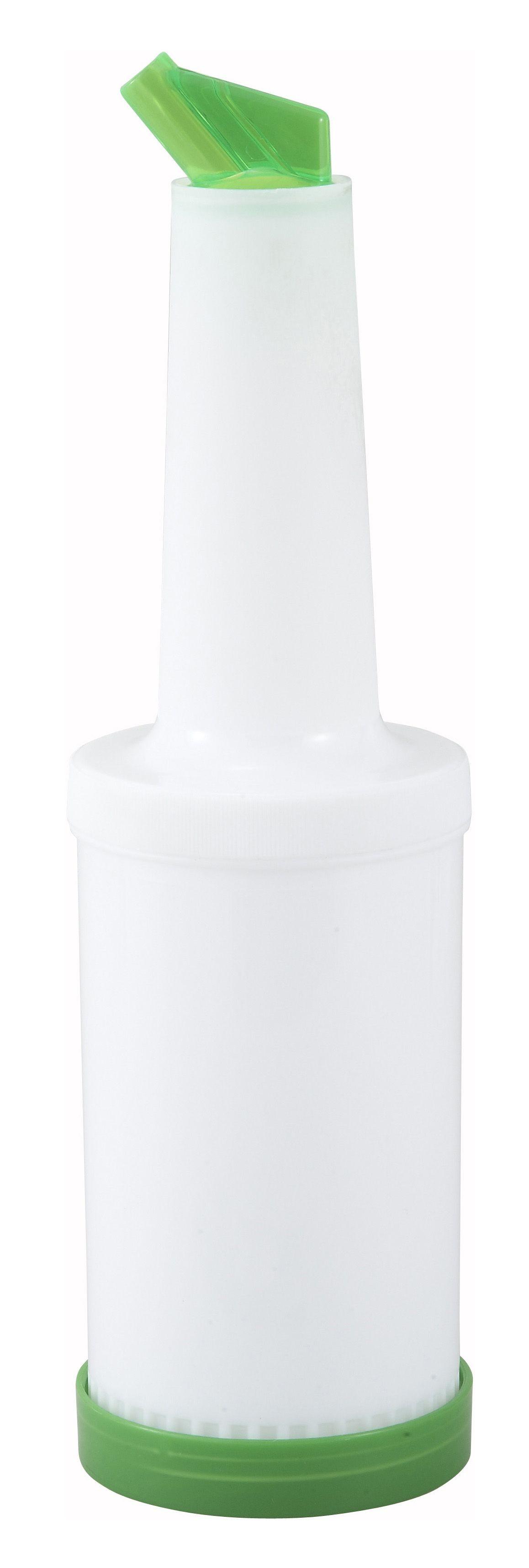 Winco PPB-1G Liquor and Juice Multi-Pour Bottle with Green Spout and Lid 1 Qt.