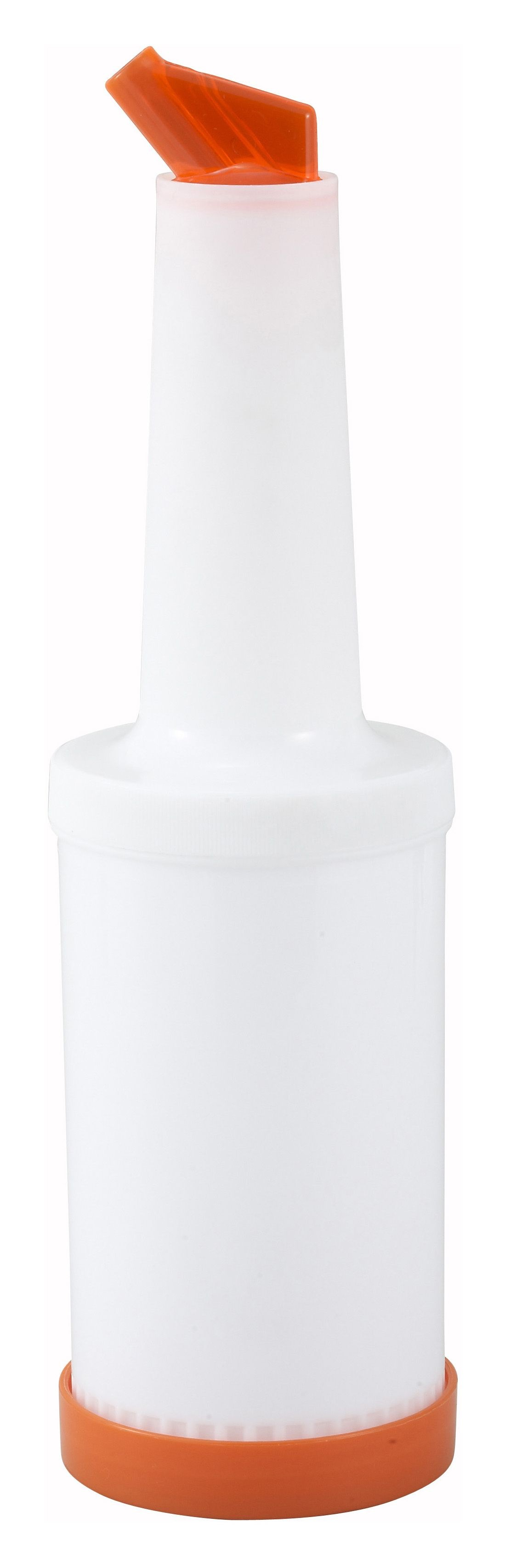 Winco PPB-1O Liquor and Juice Multi-Pour Bottle with Orange Spout and Lid 1 Qt.
