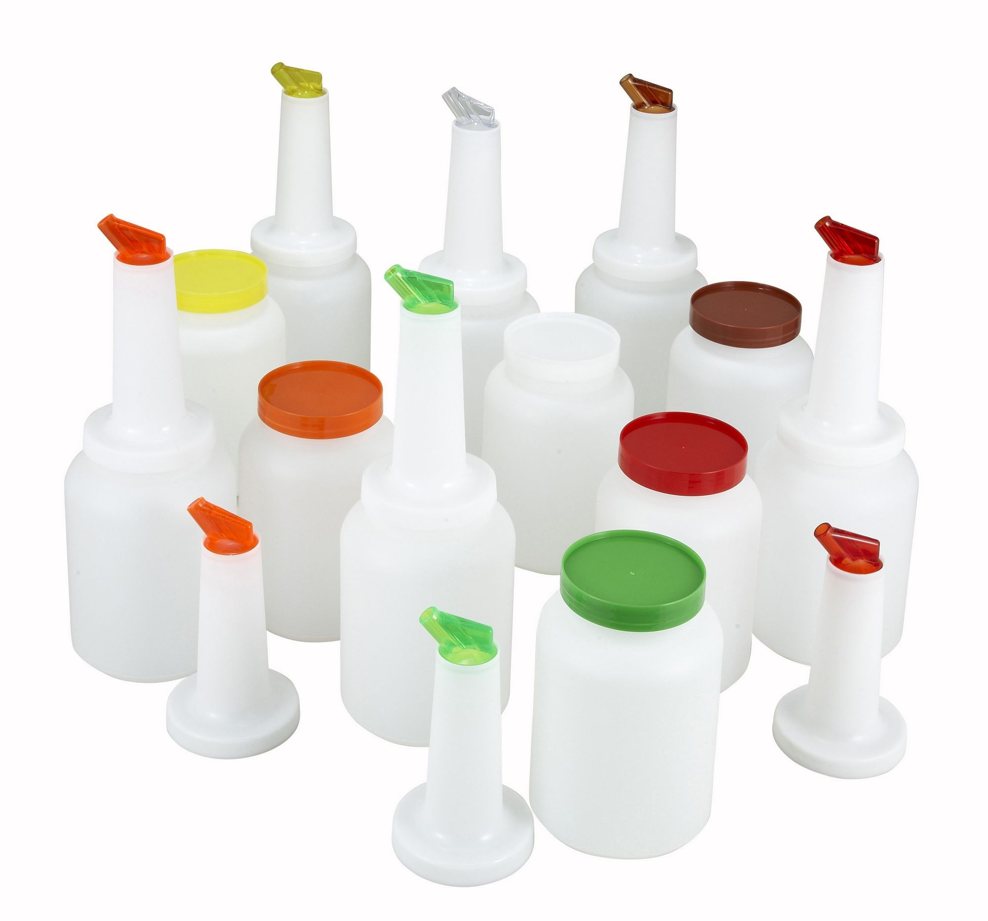 Winco PPB-2MX Liquor and Juice Multi Pour Set with Assorted Color Spouts & Lids 2 Qt.