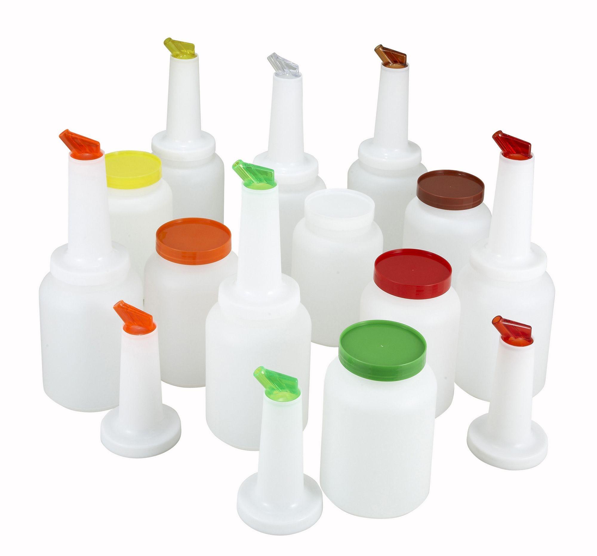 Winco PPB-2MX Liquor and Juice Multi Pour Set with Assorted Color Spouts and Lids 2 Qt.