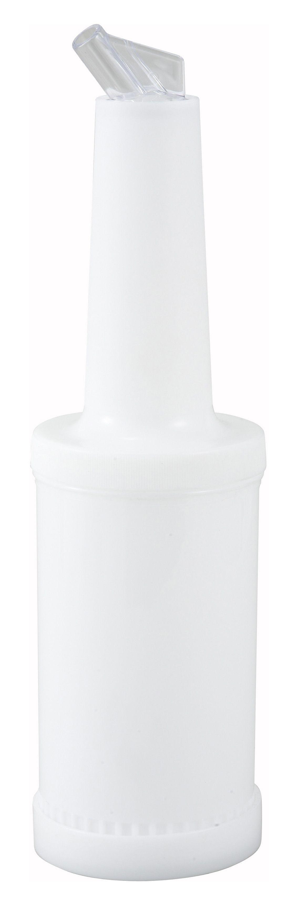 Winco PPB-2W Liquor and Juice Multi-Pour Bottle with White Spout and Lid 2 Qt.
