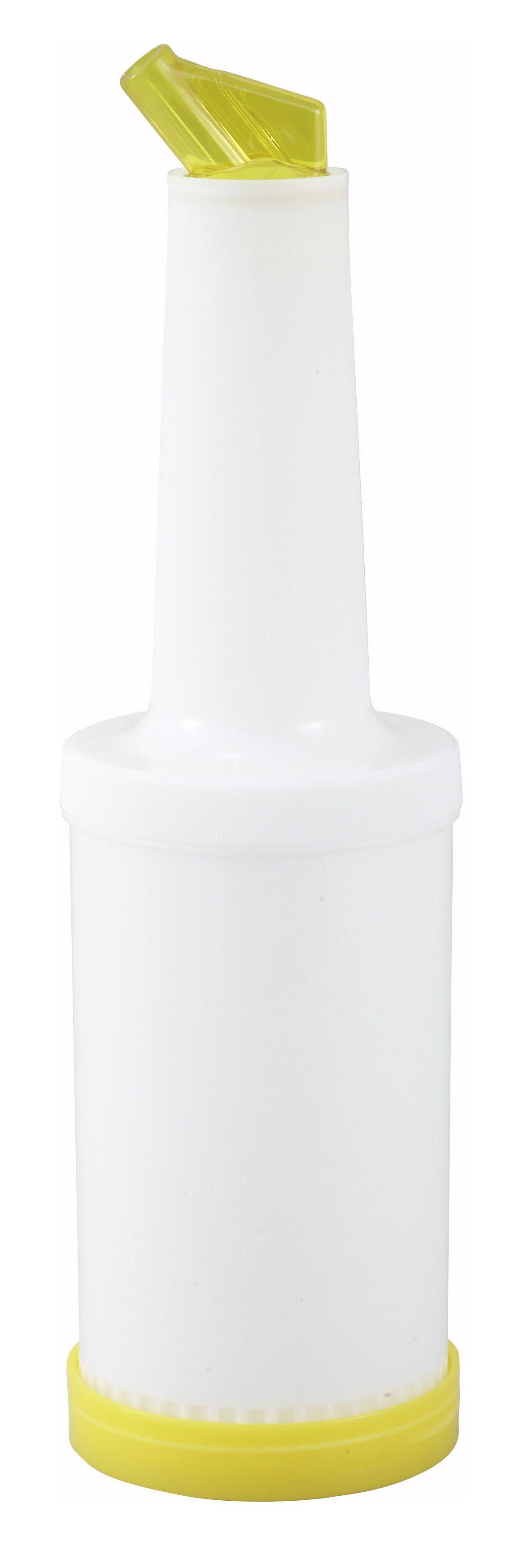 Winco PPB-2Y Liquor and Juice Multi-Pour Bottle with Yellow Spout and Lid 2 Qt.