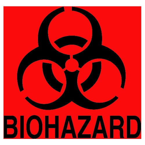 Fluorescent Orange-Red Bio Hazard Decal